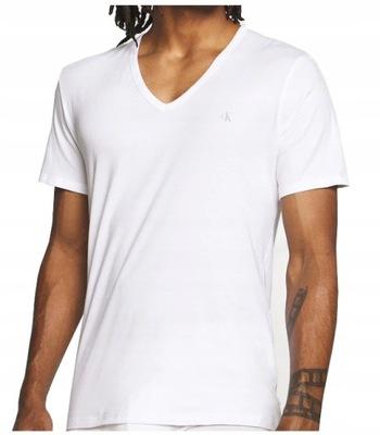 CALVIN KLEIN Biały V-Neck Oryginalny T-Shirt M