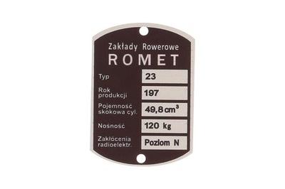 ROMET СОБАКА 200 205 КОМАР ТАБЛИЧКА