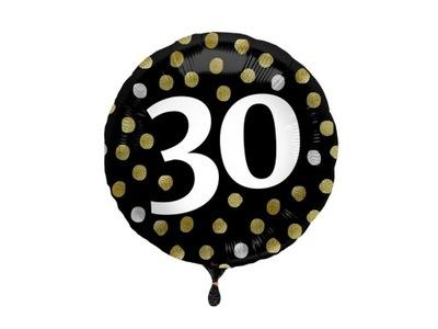Balon foliowy na trzydziestkę czarny 45cm 30stka