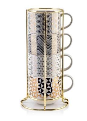 Чашки комплект 4 со стойкой золотые Chic комплект