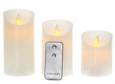 СВЕЧА Свеча LED натуральный ВОСК белое 3 свечи