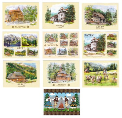 TATRY ZAKOPANE pocztówki akwarele 10 szt