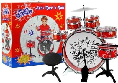 Duża Perkusja 6 Bębnów + Talerz + Pedał Zabawka NI