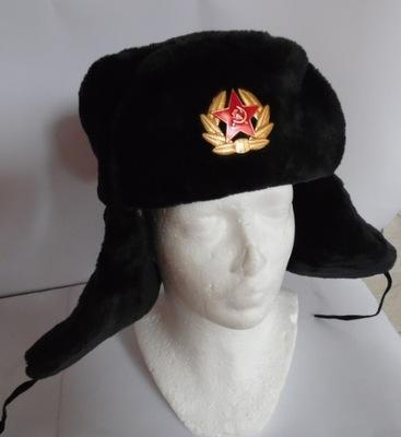 Rosyjska czapka uszanka - uszatka czarna roz. 57 M