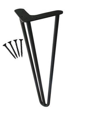 Metalowe Nóżki Noga Stolik Czarne 50 CM 3 Prętowy
