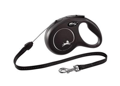 Smycz FLEXI New Classic S czarna 8m do 12kg Linka