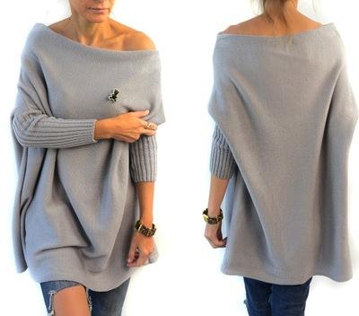Geometryczny Sweter MONE Tunika Broszka Oversize
