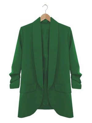 MARYNARKA drapowane rękawy ŻAKIET zielony S/M