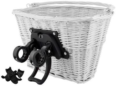 Kosz na Rower Wiklinowy Koszyk Click Klik Biały