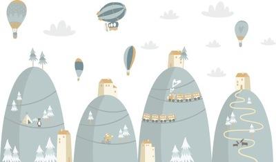 Samolepky na stenu pre deti Balóny na hory D172 100cm
