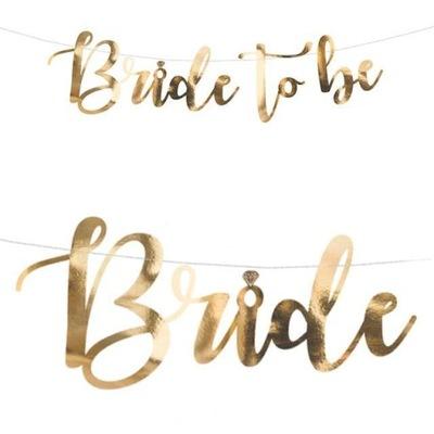 BANER girlanda BRIDE to BE wieczór panieński ZŁOTY
