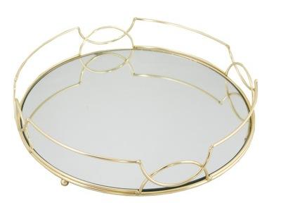 ЛОТОК круглая посуда ? зеркалом ЗОЛОТАЯ металлическая опора