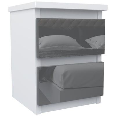 тумба 2 ящик стол Белый Серый блеск