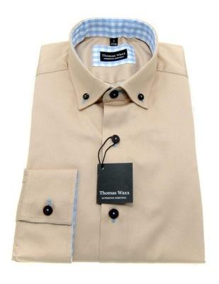 Beżowa koszula męska z łatami na łokciach M