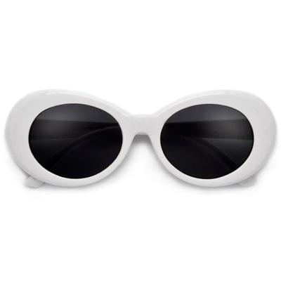 okulary Kurt Białe Owalne Vintage Retro UV 400
