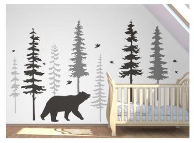 Nálepky lesný vianočný stromček medveď plavý stromček medveď