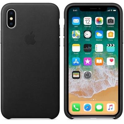 Plecki iPhone X czarny ORYGINALNY SKÓRA