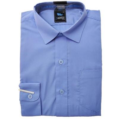 Niebieska elegancka koszula chłopięca dł rękaw 146