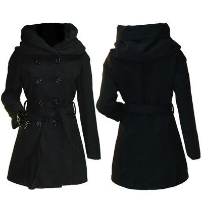 Włoski płaszcz z kapturem ZIMOWY OCIEPLANY S 36