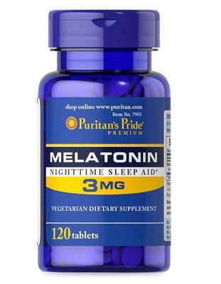 PURITANS PRIDE MELATONINA 3 mg 120 tab BEZSENNOŚĆ