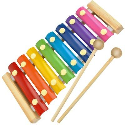 Cymbałki Drewniane dla Dzieci Kolorowe Edukacyjne
