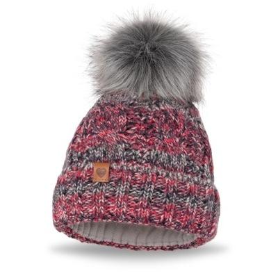 Zimowa czapka damska z pomponem JAKOB - Ciemnyróż