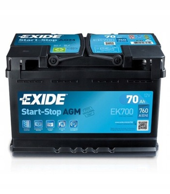 EXIDE AGM 70AH 760A СТАРТ СТОП P+ EK700