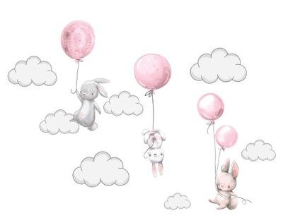 Naklejka ścienna KRÓLICZKI balony chmurki XXXXL