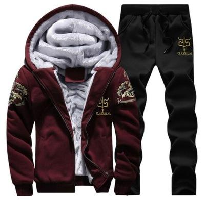 Ciepły Jesienny Zimowy Komplet Bluza + Spodnie 2XL