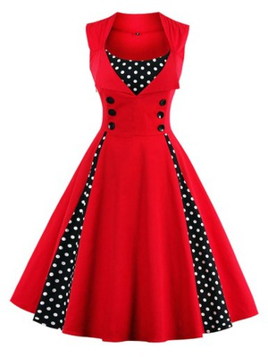 Sukienka w Grochy W Stylu Retro Vintage 8 Kolorów
