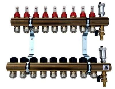 Mosadzné potrubie 9 prietokových upínacích ventilov 629