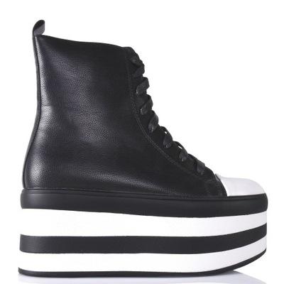 Czarne wysokie trampki z białym noskiem 7927 39