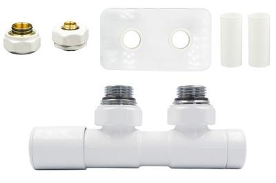 Regulačný ventil Dvojčatá 50 mm biele + spojky PEX + ľavá rozeta