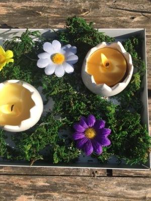 Wielkanoc - Świecznik, świece z wosku pszczelego