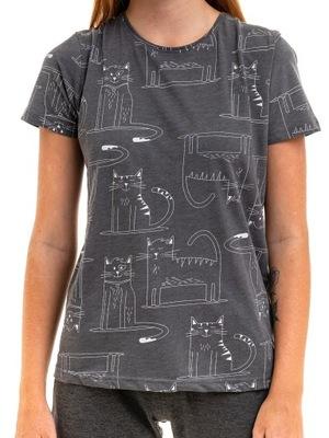 T-shirt damski krótki rękaw koty Moraj szary L