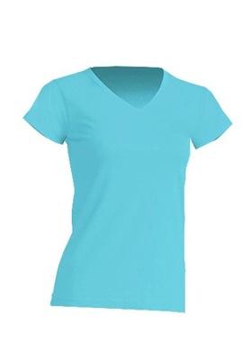 T-shirt koszulka damska V-NECK JHK TURQUOISE XL