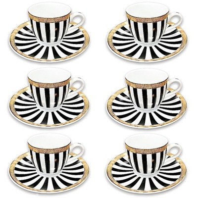 Zestaw 6 Filiżanek do kawy ESPRESSO komplet paski