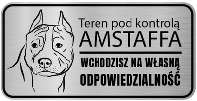 Uwaga Pies Tabliczka nierdzewna Amstaff