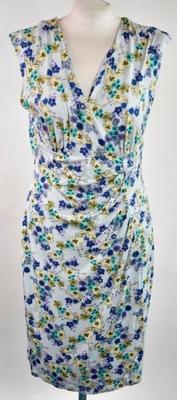 PAPAYA sukienka niebieska w kolorowe kwiatki r.40