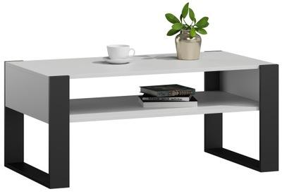 Ława stolik kawowy KAJA biało-czarna loft retro