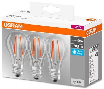 Лампа LED FILAMENT E27 7W = 60W Osram 4000K 3??.