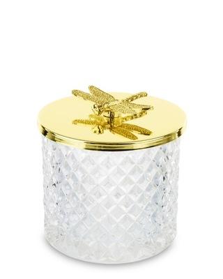 Pojemnik szklany na waciki szkatułka 9 złota ważka