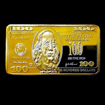 ZŁOTA SZTABKA USA - 100 $ w złocie Franklin