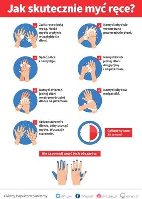 Tabliczka PCV, dezynfekcja rąk instrukcja