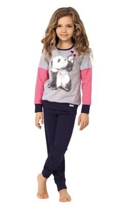 Piżamka dziewczęca długi rękaw, spodniePanda,122