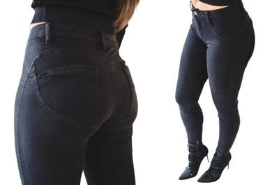 Czarne modelujące spodnie damskie push up L