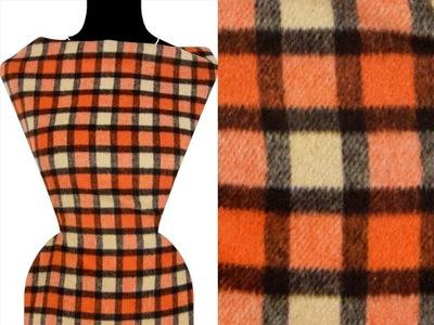 Tkanina płaszczowa, kratka beż-oranż