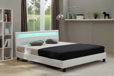 кровать МЯГКАЯ LED 160х200 белое КОЖАНЫЕ