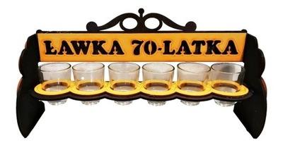 Stojak Ławeczka z kieliszkami prezent 70 Urodziny