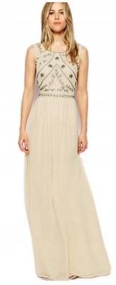 Sukienka maxi zdobiona nude kamienie S 36